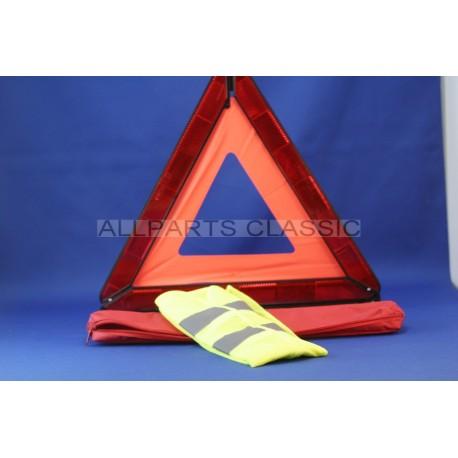 TRIANGLE PRE SIGNALISATION AVEC GILET JAUNE FLUO Ref: triangle